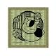 切り絵シリーズ 畳コースター  ~和モダン~ ニャンコ先生I よろけ縞に小菊
