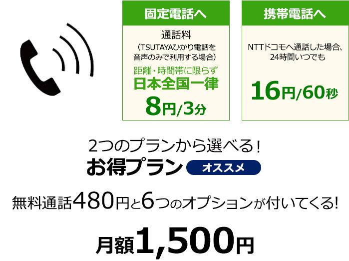 2つのプランから選べる!お得プラン 無料通話480円と6つのオプションが付いてくる!月額1,500円!