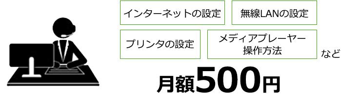 インターネットの設定 無線LANの設定 プリンタの設定 メディアプレイヤーの操作方法など 月額500円